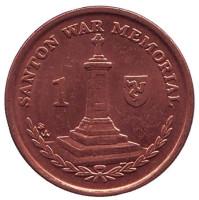 Военный мемориал в Сантоне. Монета 1 пенни. 2007 год, Остров Мэн. (BA)