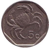 Краб. Монета 5 центов. 1995 год. Мальта.