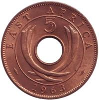 Монета 5 центов, 1963 год, Восточная Африка. XF-aUNC.