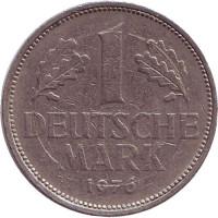 Монета 1 марка. 1976 год (F), ФРГ.