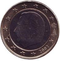 Монета 1 евро. 2002 год, Бельгия.