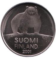 Медведь. Монета 50 пенни. 2001 год, Финляндия.