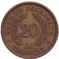 Монета 20 марок. 1934 год, Финляндия. Состояние - F.