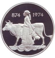 1100 лет первым поселенцам. Монета 500 крон. 1974 год, Исландия. (Пруф).