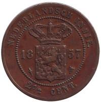 Монета 2,5 цента. 1857 год, Нидерландская Индия.