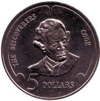 """Джеймс Кук. Серия """"Первооткрыватели"""". Монета 5 долларов. 1992 год, Новая Зеландия."""