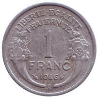Монета 1 франк. 1946 (B) год, Франция.
