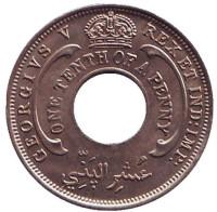 Монета 1/10 пенни. 1926 год, Британская Западная Африка. aUNC.