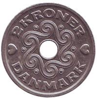 Монета 2 кроны. 1995 год, Дания.