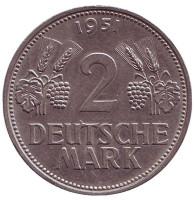 Монета 2 марки. 1951 год (D), ФРГ.