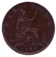 Монета 1 фартинг. 1884 год, Великобритания.