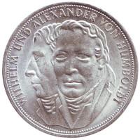 200 лет со дня рождения Вильгельма и Александра фон Гумбольдтов. Монета 5 марок. 1967 год, ФРГ.