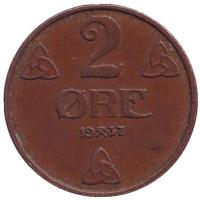 Монета 2 эре. 1937 год, Норвегия.