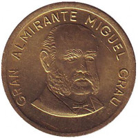 Мигель Грау. Монета 10 сентимов. 1987 год, Перу.
