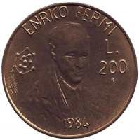 Энрико Ферми. Монета 200 лир. 1984 год, Сан-Марино.