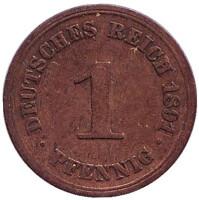 Монета 1 пфенниг. 1891 год (A), Германская империя.