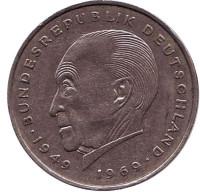 Конрад Аденауэр. Монета 2 марки. 1970 год (J), ФРГ. Из обращения.