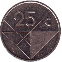 Монета 25 центов. 1991 год, Аруба.
