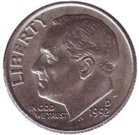 Рузвельт. Монета 10 центов. 1992 (D) год, США.