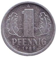 Монета 1 пфенниг. 1989 год, ГДР.