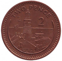 "Маяк. Монета 2 пенса. 1999 год, Гибралтар. (Отметка ""AB"")"