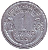 Монета 1 франк. 1948 год, Франция.