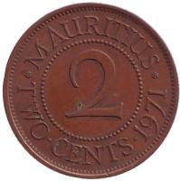 Монета 2 цента. 1971 год, Маврикий.