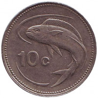 Золотистая макрель. Монета 10 центов. 1991 год, Мальта.