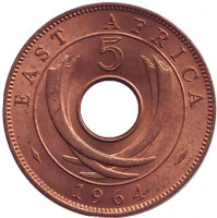 Монета 5 центов, 1964 год, Восточная Африка. XF-aUNC.