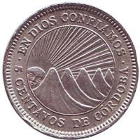 Монета 5 сентаво. 1965 год, Никарагуа.