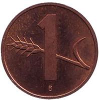 Монета 1 раппен. 1993 год, Швейцария.