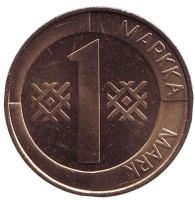 Монета 1 марка. 2001 год, Финляндия. UNC.