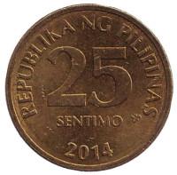 Монета 25 сентимо. 2014 год, Филиппины.