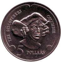 """Христофор Колумб. Серия """"Первооткрыватели"""". Монета 5 долларов. 1992 год, Новая Зеландия."""