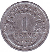 Монета 1 франк. 1947 B год, Франция.