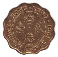 Монета 20 центов. 1991 год, Гонконг.