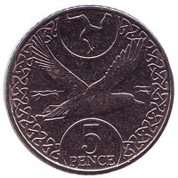 Чайка. Монета 5 пенсов. 2017 год, Остров Мэн.