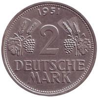 Монета 2 марки. 1951 год (G), ФРГ.