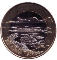 Архипелаговое море. Монета 5 евро. 2018 год, Финляндия.