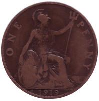 """Монета 1 пенни. 1919 год, Великобритания. (Отметка: """"H"""")"""