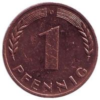 Дубовые листья. Монета 1 пфенниг. 1967 год (D), ФРГ.