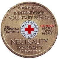100 лет Австралийскому Красному кресту. Монета 1 доллар. 2014 год, Австралия.
