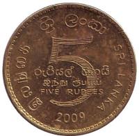Монета 5 рупий. 2009 год, Шри-Ланка.