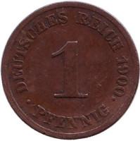 Монета 1 пфенниг. 1900 год (J), Германская империя.