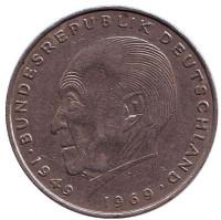 Конрад Аденауэр. Монета 2 марки. 1973 год (D), ФРГ. Из обращения.