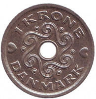 Монета 1 крона. 2001 год, Дания.