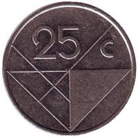 Монета 25 центов. 1997 год, Аруба.
