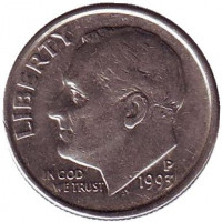 Рузвельт. Монета 10 центов. 1993 (P) год, США.