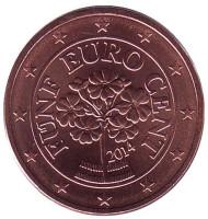 Монета 5 центов, 2014 год, Австрия.
