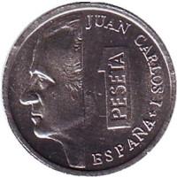 Монета 1 песета. 2001 год, Испания. UNC.